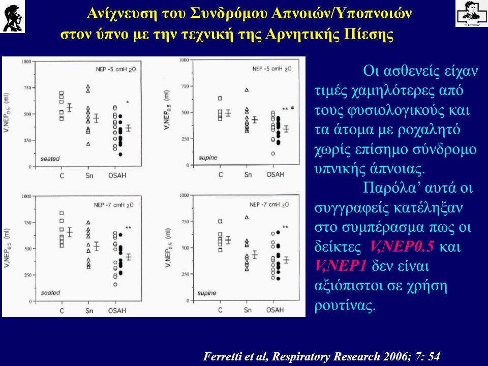 Ανίχνευση του Συνδρόμου Απνοιών/Υποπνοιών στον ύπνο με την τεχνική της Αρνητικής Πίεσης Ferretti et al, Respiratory Research 2006; 7: 54 Οι ασθενείς ε