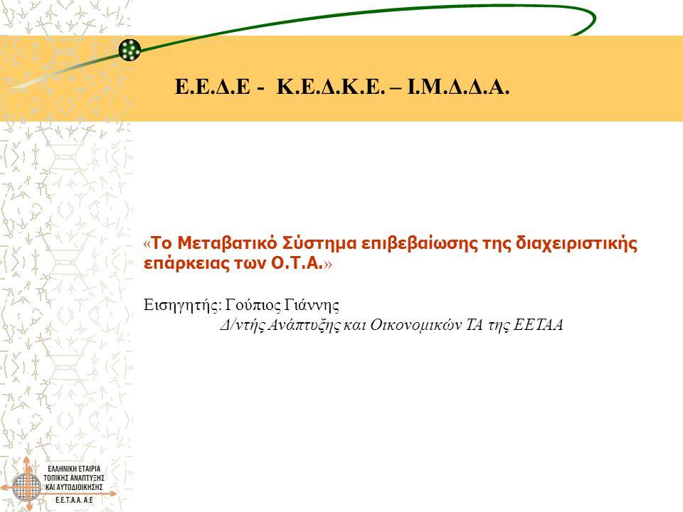 Ε.Ε.Δ.Ε - Κ.Ε.Δ.Κ.Ε. – Ι.Μ.Δ.Δ.Α. « Το Μεταβατικό Σύστημα επιβεβαίωσης της διαχειριστικής επάρκειας των Ο.Τ.Α. » Εισηγητής: Γούπιος Γιάννης Δ/ντής Ανά