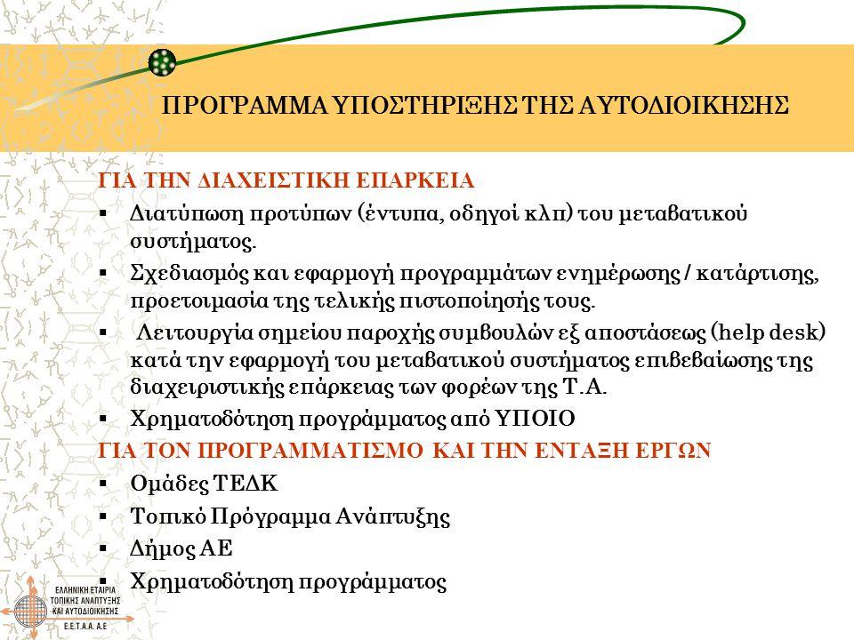 ΠΡΟΓΡΑΜΜΑ ΥΠΟΣΤΗΡΙΞΗΣ ΤΗΣ ΑΥΤΟΔΙΟΙΚΗΣΗΣ ΓΙΑ ΤΗΝ ΔΙΑΧΕΙΣΤΙΚΗ ΕΠΑΡΚΕΙΑ  Διατύπωση προτύπων (έντυπα, οδηγοί κλπ) του μεταβατικού συστήματος.  Σχεδιασμό