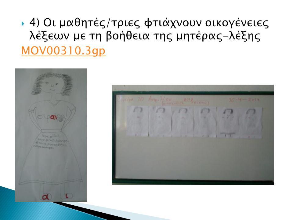 4) Οι μαθητές/τριες φτιάχνουν οικογένειες λέξεων με τη βοήθεια της μητέρας-λέξης MOV00310.3gp