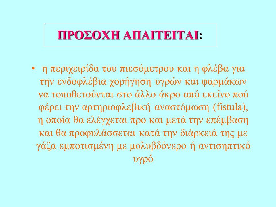 ΠΡΟΣΟΧH ΑΠΑΙΤΕΙΤΑΙ: •η περιχειρίδα του πιεσόμετρου και η φλέβα για την ενδοφλέβια χορήγηση υγρών και φαρμάκων να τοποθετούνται στο άλλο άκρο από εκείν