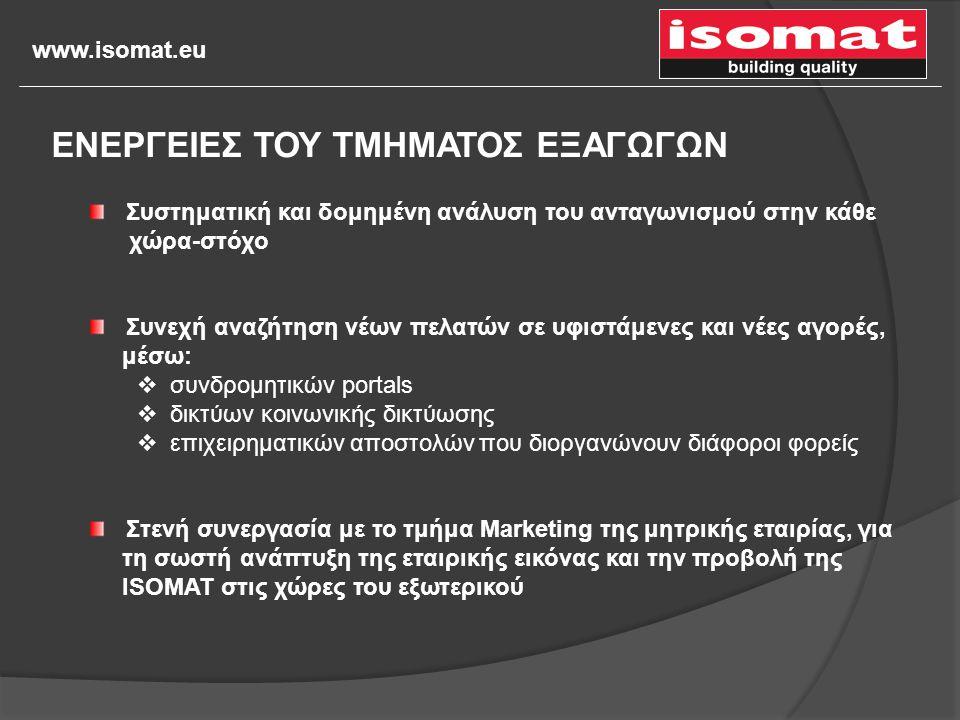 www.isomat.eu Συστηματική και δομημένη ανάλυση του ανταγωνισμού στην κάθε χώρα-στόχο Συνεχή αναζήτηση νέων πελατών σε υφιστάμενες και νέες αγορές, μέσ