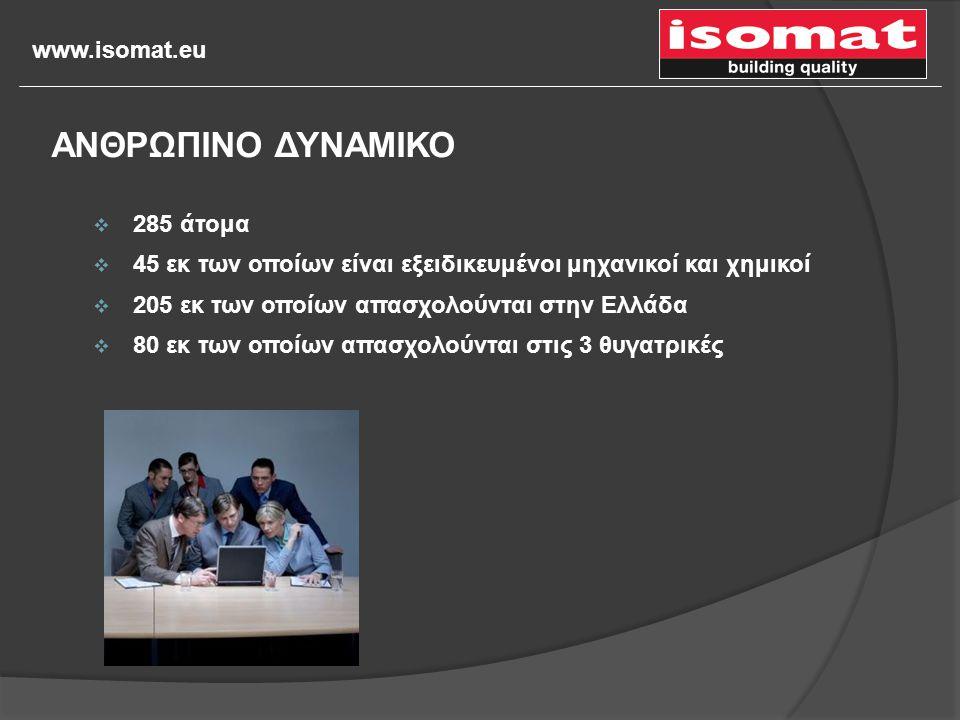 www.isomat.eu  285 άτομα  45 εκ των οποίων είναι εξειδικευμένοι μηχανικοί και χημικοί  205 εκ των οποίων απασχολούνται στην Ελλάδα  80 εκ των οποί