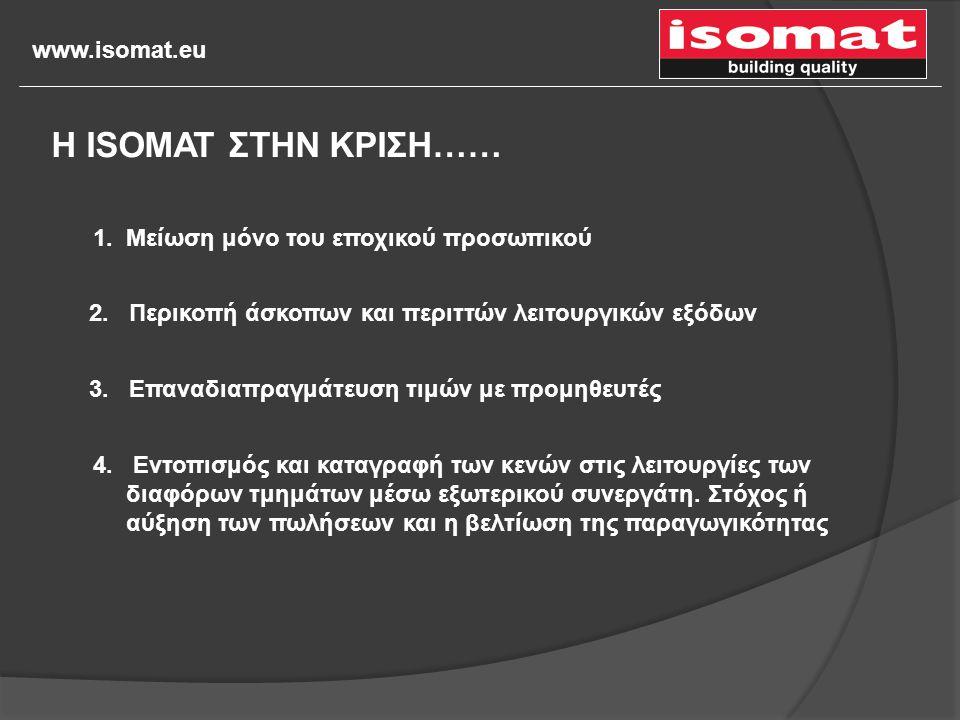 www.isomat.eu 1. Μείωση μόνο του εποχικού προσωπικού 2. Περικοπή άσκοπων και περιττών λειτουργικών εξόδων 3. Επαναδιαπραγμάτευση τιμών με προμηθευτές