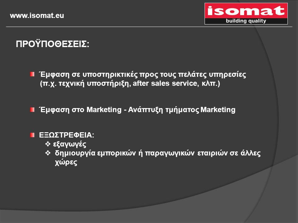 www.isomat.eu ΕΞΩΣΤΡΕΦΕΙΑ:  εξαγωγές  δημιουργία εμπορικών ή παραγωγικών εταιριών σε άλλες χώρες Έμφαση στο Marketing - Ανάπτυξη τμήματος Marketing