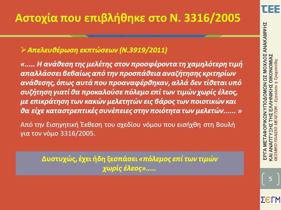 ΕΡΓΑ ΜΕΤΑΦΟΡΙΚΩΝ ΥΠΟΔΟΜΩΝ ΩΣ ΜΟΧΛΟΣ ΑΝΑΚΑΜΨΗΣ ΚΑΙ ΑΝΑΠΤΥΞΗΣ ΤΗΣ ΕΛΛΗΝΙΚΗΣ ΟΙΚΟΝΟΜΙΑΣ ΘΕΣΜΙΚΟ ΠΛΑΙΣΙΟ ΜΕΛΕΤΩΝ – Εργαλείο ή Τροχοπέδη; • Ο Ν.3316/2005 εφαρμόζεται υποχρεωτικά σε όλες τις συμβάσεις μελετών και υπηρεσιών του δημόσιου τομέα (άρθρο 2).