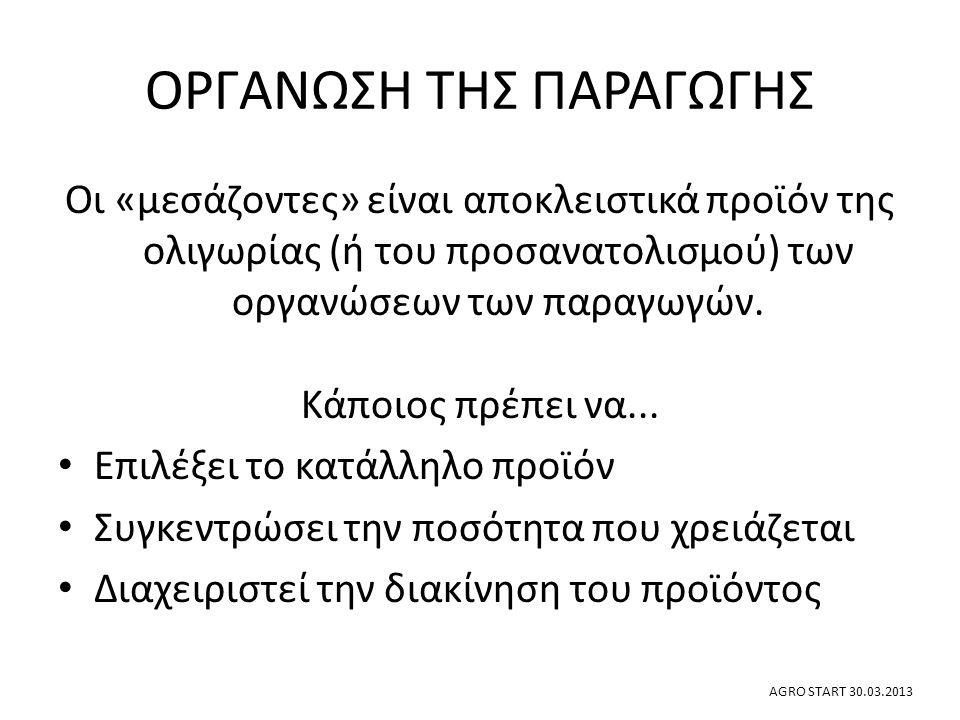 ΟΡΓΑΝΩΣΗ ΤΗΣ ΠΑΡΑΓΩΓΗΣ Οι δοκιμασμένες λύσεις για ομαδοποίηση Υπερ-συγκεντρωτική……..Πλήρως δημοκρατική Πλεονεκτήματα και μειονεκτήματα Η τάση των δομών στην ελληνική γεωργία Το μέλλον των μικροπαραγωγών AGRO START 30.03.2013