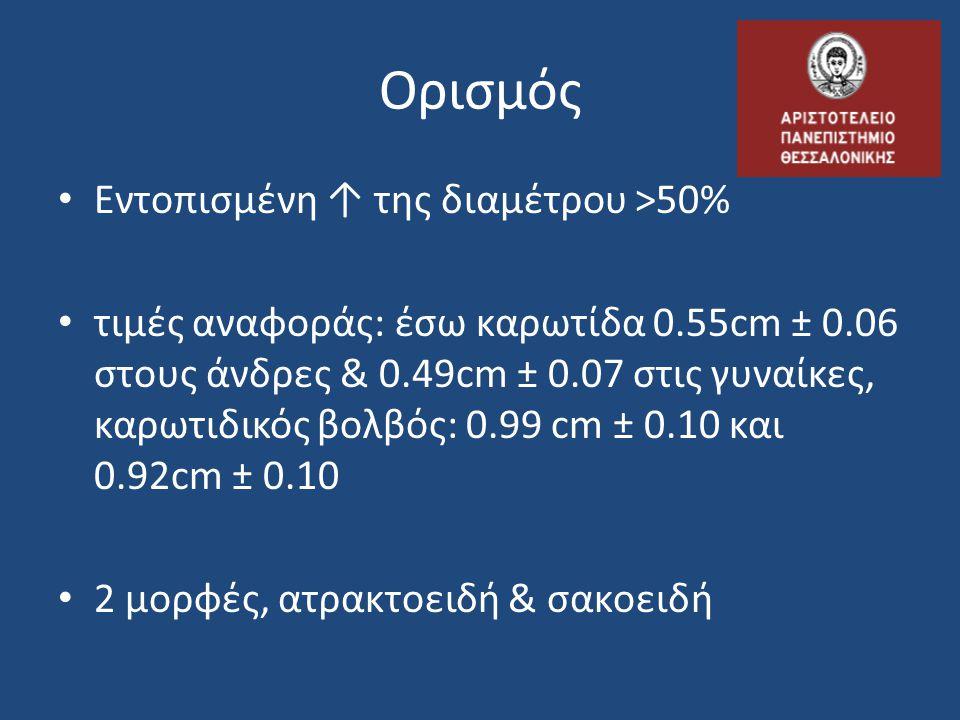 Ορισμός • Εντοπισμένη ↑ της διαμέτρου >50% • τιμές αναφοράς: έσω καρωτίδα 0.55cm ± 0.06 στους άνδρες & 0.49cm ± 0.07 στις γυναίκες, καρωτιδικός βολβός