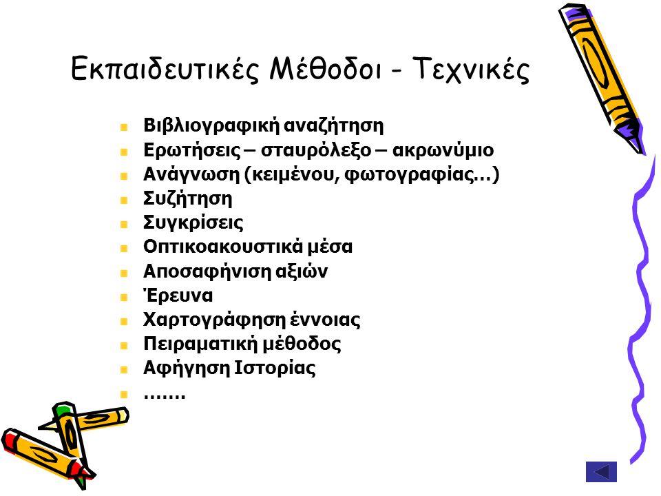 Εκπαιδευτικές Μέθοδοι - Τεχνικές Βιβλιογραφική αναζήτηση Ερωτήσεις – σταυρόλεξο – ακρωνύμιο Ανάγνωση (κειμένου, φωτογραφίας…) Συζήτηση Συγκρίσεις Οπτι