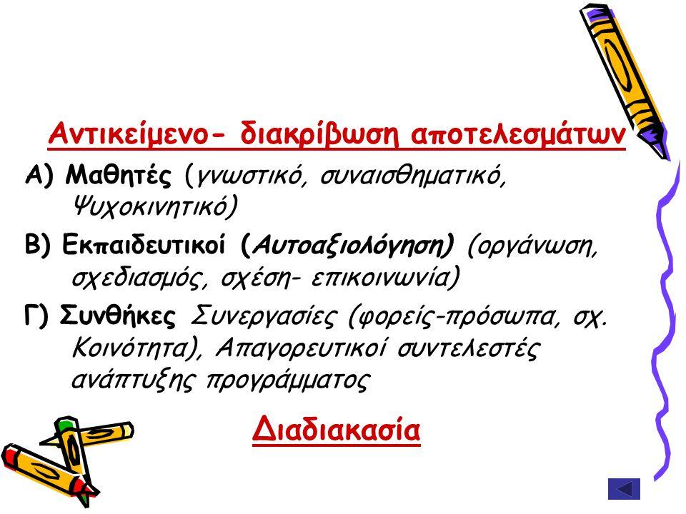 Αντικείμενο- διακρίβωση αποτελεσμάτων Α) Μαθητές (γνωστικό, συναισθηματικό, Ψυχοκινητικό) Β) Εκπαιδευτικοί (Αυτοαξιολόγηση) (οργάνωση, σχεδιασμός, σχέ