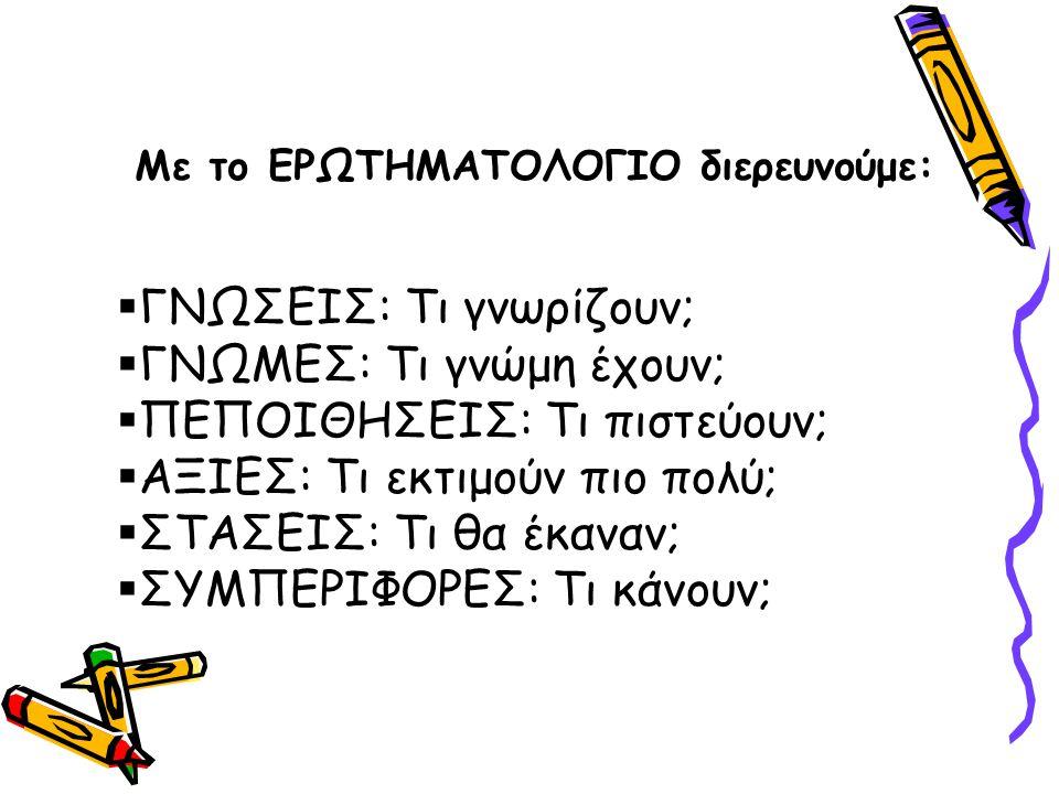 Με το ΕΡΩΤΗΜΑΤΟΛΟΓΙΟ διερευνούμε: §ΓΝΩΣΕΙΣ: Τι γνωρίζουν; §ΓΝΩΜΕΣ: Τι γνώμη έχουν; §ΠΕΠΟΙΘΗΣΕΙΣ: Τι πιστεύουν; §ΑΞΙΕΣ: Τι εκτιμούν πιο πολύ; §ΣΤΑΣΕΙΣ: