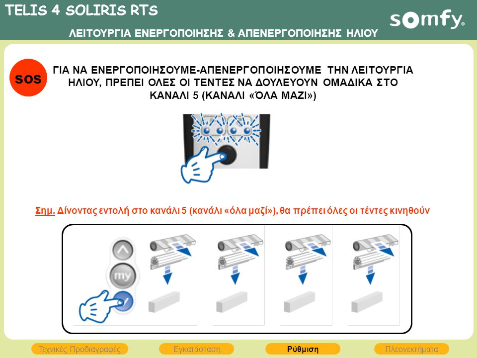 TELIS 4 SOLIRIS RTS ΕγκατάστασηΡύθμισηΠλεονεκτήματα Τεχνικές Προδιαγραφές ΛΕΙΤΟΥΡΓΙΑ ΕΝΕΡΓΟΠΟΙΗΣΗΣ & ΑΠΕΝΕΡΓΟΠΟΙΗΣΗΣ ΗΛΙΟΥ ΓΙΑ ΝΑ ΕΝΕΡΓΟΠΟΙΗΣΟΥΜΕ-ΑΠΕΝ