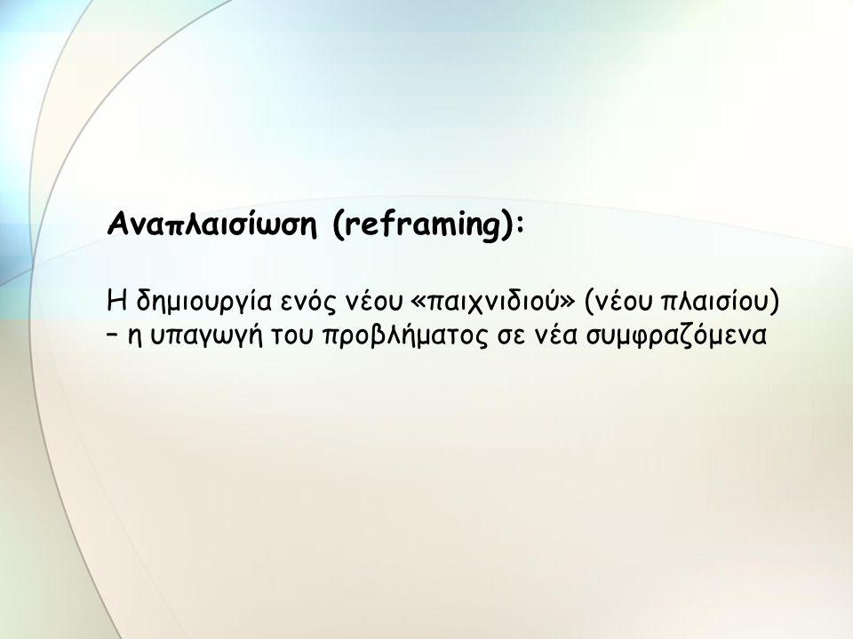 Αναπλαισίωση (reframing): Η δημιουργία ενός νέου «παιχνιδιού» (νέου πλαισίου) – η υπαγωγή του προβλήματος σε νέα συμφραζόμενα
