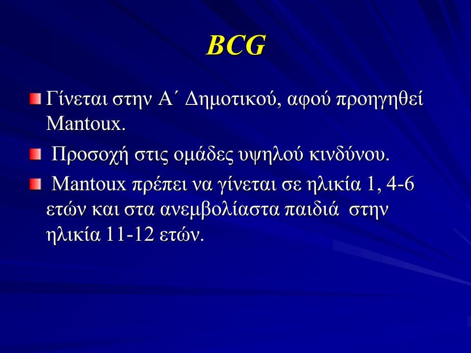 BCG Γίνεται στην Α΄ Δημοτικού, αφού προηγηθεί Mantoux. Προσοχή στις ομάδες υψηλού κινδύνου. Προσοχή στις ομάδες υψηλού κινδύνου. Mantoux πρέπει να γίν