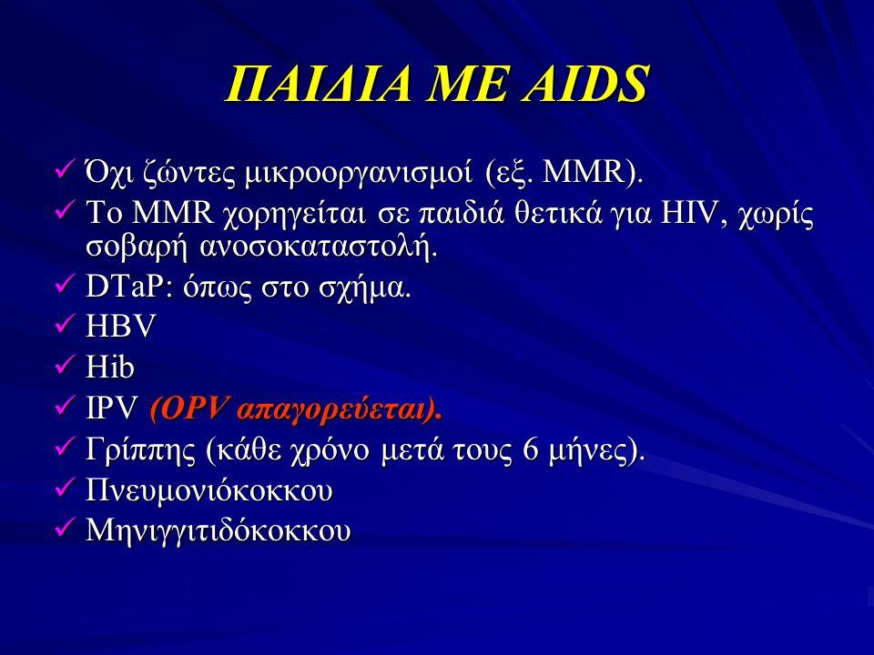 ΠΑΙΔΙΑ ΜΕ AIDS  Όχι ζώντες μικροοργανισμοί (εξ. MMR).  To MMR χορηγείται σε παιδιά θετικά για HIV, χωρίς σοβαρή ανοσοκαταστολή.  DTaP: όπως στο σχή