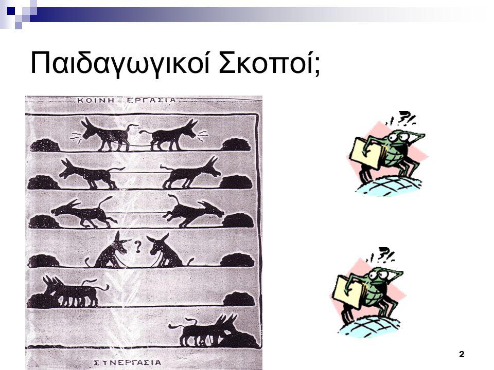 3 Συνεργασία για ποιο λόγο; ΠρινΣτο μέλλον Βασισμένη στην πληροφόρησηΔημιουργία γνώσης/εφαρμογές Δια μέσου της επανάληψηςΑνάλυση και σύνθεση Καθοδηγούμενη από τον δάσκαλοΟμαδική μάθηση Με συγκεκριμένη σειρά (αναλυτικό πρόγραμμα) Στη δεδομένη περίσταση και με διαθεματικό τρόπο Έμφαση στην τυπική εκπαίδευσηΠοικιλία μοντέλων μάθησης ΚατευθυνόμενηΜε λήψη πρωτοβουλίας Μάθηση σε συγκεκριμένη ηλικίαΚίνητρο, ενδιαφέρον για μάθηση Τερματισμός μετά τις σπουδέςΔια βίου Εκπαίδευση Η μάθηση στην οικονομία της γνώσης