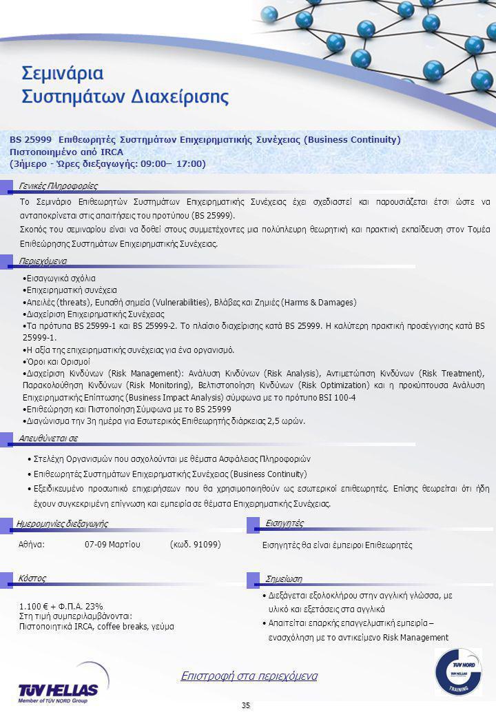 35 BS 25999 Επιθεωρητές Συστημάτων Επιχειρηματικής Συνέχειας (Business Continuity) Πιστοποιημένο από IRCA (3ήμερο - Ώρες διεξαγωγής: 09:00– 17:00) Γενικές Πληροφορίες Περιεχόμενα Απευθύνεται σε ΚόστοςΣημείωση Ημερομηνίες διεξαγωγής Εισηγητές 1.100 € + Φ.Π.Α.