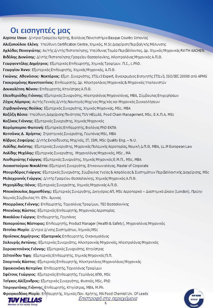 6 Azpiroz Uxue: Δ/ντρια Γραφείου Κρήτης, Βιολόγος Πανεπιστήμιο Basque Country Ισπανίας Αλεξοπούλου Ελένη: Υπεύθυνη Certification Centre, Χημικός, M.Sc