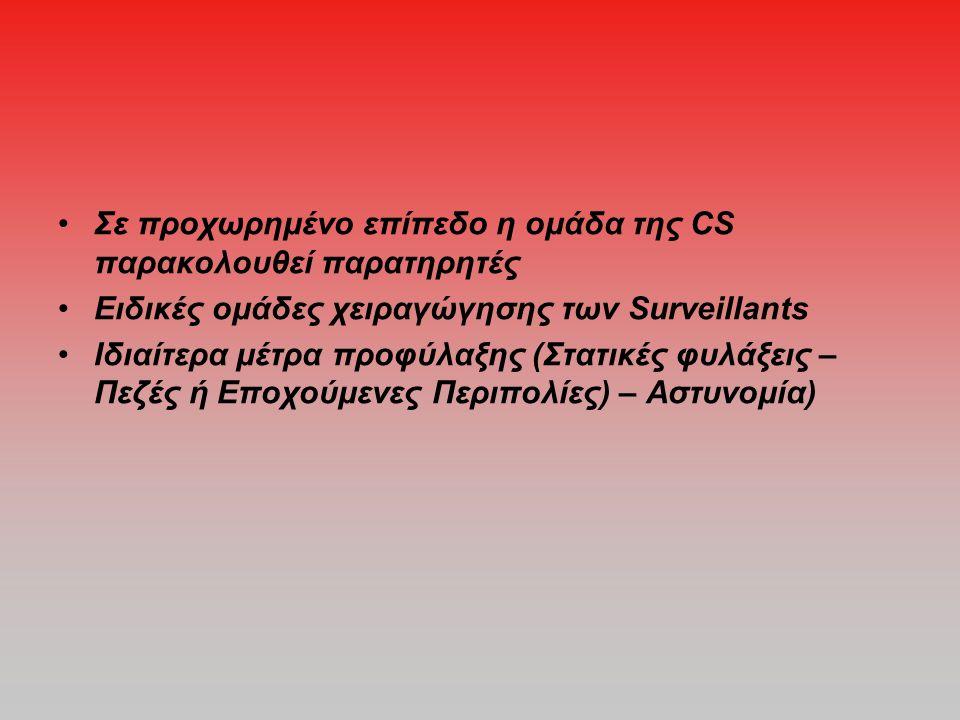 •Σε προχωρημένο επίπεδο η ομάδα της CS παρακολουθεί παρατηρητές •Ειδικές ομάδες χειραγώγησης των Surveillants •Ιδιαίτερα μέτρα προφύλαξης (Στατικές φυλάξεις – Πεζές ή Εποχούμενες Περιπολίες) – Αστυνομία)
