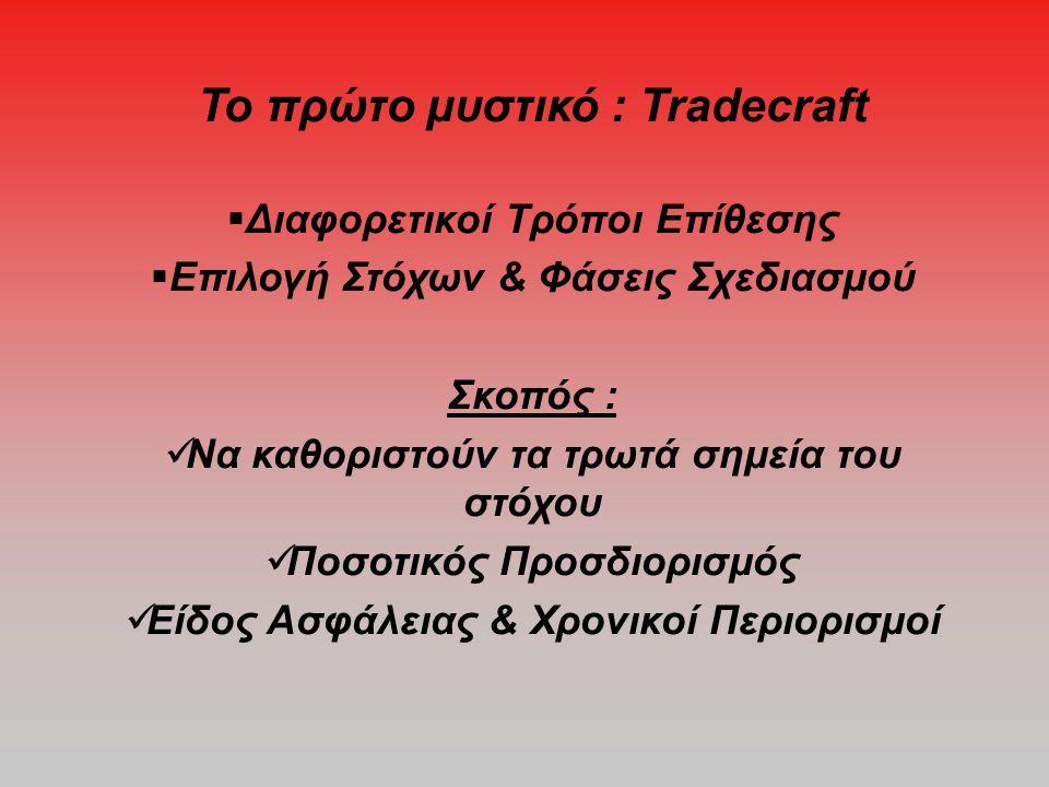 Το πρώτο μυστικό : Tradecraft  Διαφορετικοί Τρόποι Επίθεσης  Επιλογή Στόχων & Φάσεις Σχεδιασμού Σκοπός :  Να καθοριστούν τα τρωτά σημεία του στόχου  Ποσοτικός Προσδιορισμός  Είδος Ασφάλειας & Χρονικοί Περιορισμοί
