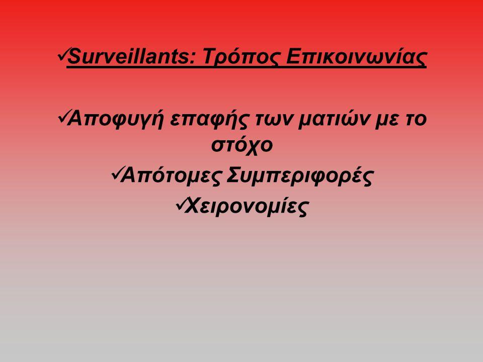  Surveillants: Τρόπος Επικοινωνίας  Αποφυγή επαφής των ματιών με το στόχο  Απότομες Συμπεριφορές  Χειρονομίες