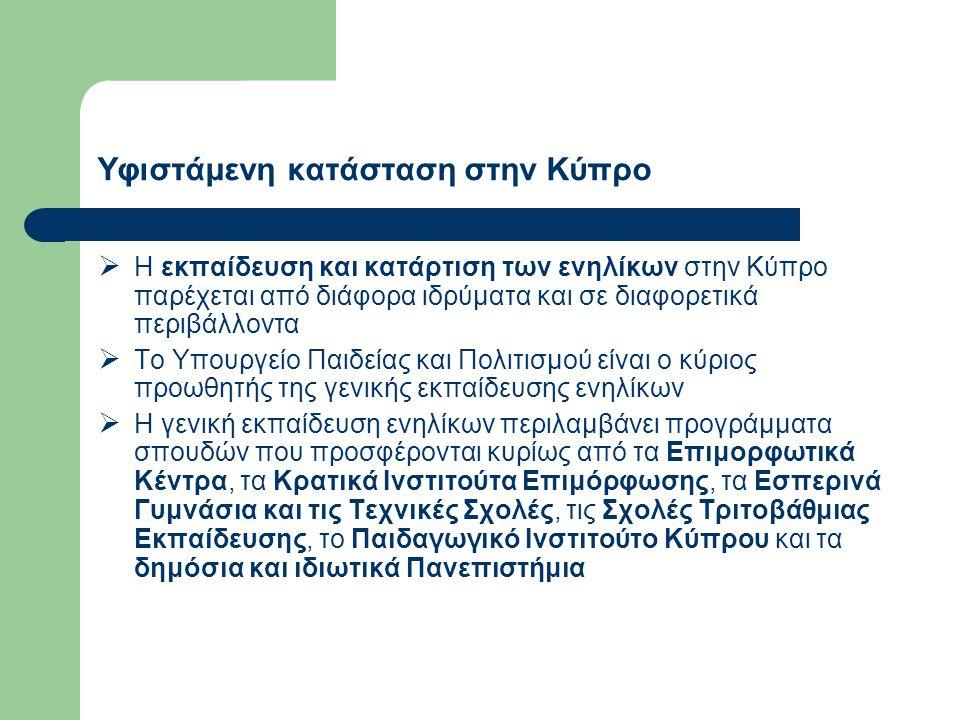 Υφιστάμενη κατάσταση στην Κύπρο  Η εκπαίδευση και κατάρτιση των ενηλίκων στην Κύπρο παρέχεται από διάφορα ιδρύματα και σε διαφορετικά περιβάλλοντα  Το Υπουργείο Παιδείας και Πολιτισμού είναι ο κύριος προωθητής της γενικής εκπαίδευσης ενηλίκων  Η γενική εκπαίδευση ενηλίκων περιλαμβάνει προγράμματα σπουδών που προσφέρονται κυρίως από τα Επιμορφωτικά Κέντρα, τα Κρατικά Ινστιτούτα Επιμόρφωσης, τα Εσπερινά Γυμνάσια και τις Τεχνικές Σχολές, τις Σχολές Τριτοβάθμιας Εκπαίδευσης, το Παιδαγωγικό Ινστιτούτο Κύπρου και τα δημόσια και ιδιωτικά Πανεπιστήμια