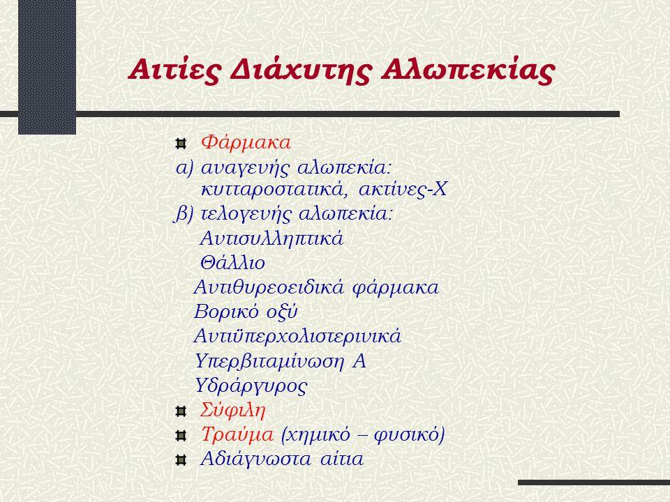 Αιτίες Διάχυτης Αλωπεκίας Ανδρογόνα Fe έλλειψη Ενδοκρινικά αίτια (υποθυρεοειδισμός – νόσος Addison) Μετά την εγκυμοσύνη και διακοπή αντισυλληπτικών Ταχεία απώλεια βάρους Νευρική ανορεξία Πρωτεϊνική – θερμιδική πλημμελής διατροφή Ουσιώδη λιπαρά οξέα (έλλειψη)