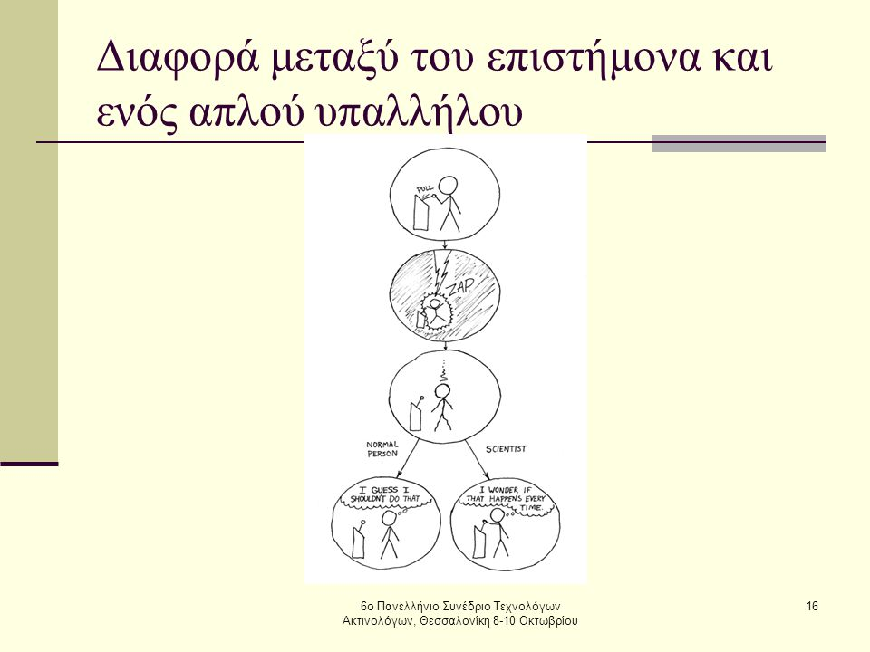 6ο Πανελλήνιο Συνέδριο Τεχνολόγων Ακτινολόγων, Θεσσαλονίκη 8-10 Οκτωβρίου 16 Διαφορά μεταξύ του επιστήμονα και ενός απλού υπαλλήλου