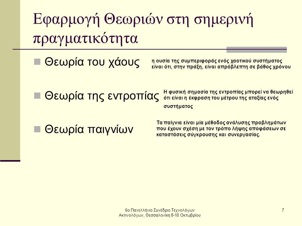 6ο Πανελλήνιο Συνέδριο Τεχνολόγων Ακτινολόγων, Θεσσαλονίκη 8-10 Οκτωβρίου 7 Εφαρμογή Θεωριών στη σημερινή πραγματικότητα  Θεωρία του χάους  Θεωρία τ
