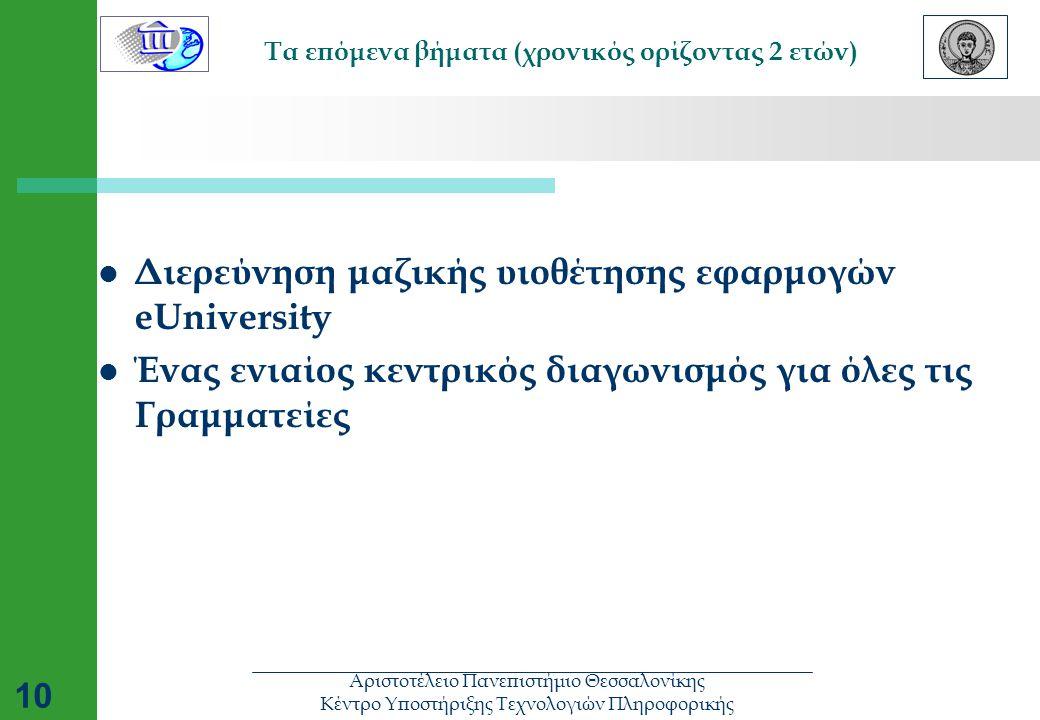Αριστοτέλειο Πανεπιστήμιο Θεσσαλονίκης Κέντρο Υποστήριξης Τεχνολογιών Πληροφορικής 10 Τα επόμενα βήματα (χρονικός ορίζοντας 2 ετών)  Διερεύνηση μαζικής υιοθέτησης εφαρμογών eUniversity  Ένας ενιαίος κεντρικός διαγωνισμός για όλες τις Γραμματείες