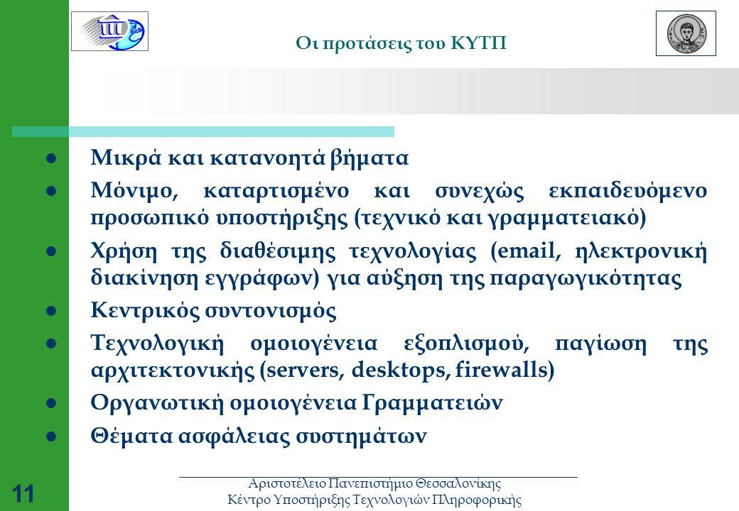 Αριστοτέλειο Πανεπιστήμιο Θεσσαλονίκης Κέντρο Υποστήριξης Τεχνολογιών Πληροφορικής 11 Οι προτάσεις του ΚΥΤΠ  Μικρά και κατανοητά βήματα  Μόνιμο, καταρτισμένο και συνεχώς εκπαιδευόμενο προσωπικό υποστήριξης (τεχνικό και γραμματειακό)  Χρήση της διαθέσιμης τεχνολογίας (email, ηλεκτρονική διακίνηση εγγράφων) για αύξηση της παραγωγικότητας  Κεντρικός συντονισμός  Τεχνολογική ομοιογένεια εξοπλισμού, παγίωση της αρχιτεκτονικής (servers, desktops, firewalls)  Οργανωτική ομοιογένεια Γραμματειών  Θέματα ασφάλειας συστημάτων