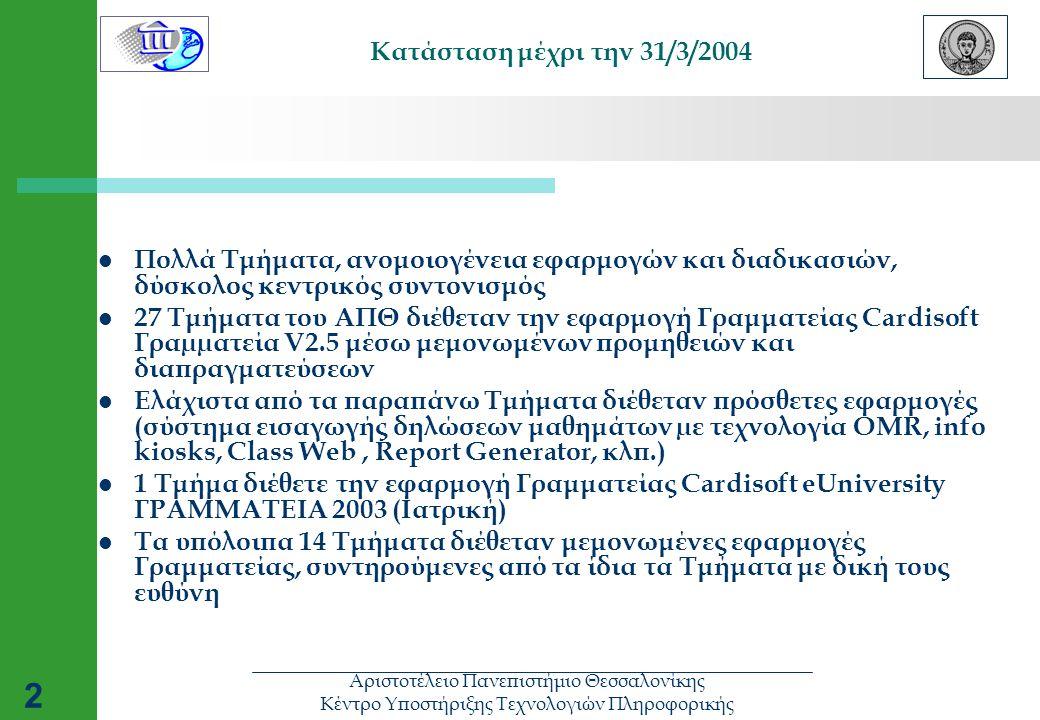 2 Κατάσταση μέχρι την 31/3/2004  Πολλά Τμήματα, ανομοιογένεια εφαρμογών και διαδικασιών, δύσκολος κεντρικός συντονισμός  27 Τμήματα του ΑΠΘ διέθεταν την εφαρμογή Γραμματείας Cardisoft Γραµµατεία V2.5 μέσω μεμονωμένων προμηθειών και διαπραγματεύσεων  Ελάχιστα από τα παραπάνω Τμήματα διέθεταν πρόσθετες εφαρμογές (σύστημα εισαγωγής δηλώσεων μαθημάτων µε τεχνολογία OMR, info kiosks, Class Web, Report Generator, κλπ.)  1 Τμήμα διέθετε την εφαρμογή Γραμματείας Cardisoft eUniversity ΓΡΑΜΜΑΤΕΙΑ 2003 (Ιατρική)  Τα υπόλοιπα 14 Τμήματα διέθεταν μεμονωμένες εφαρμογές Γραμματείας, συντηρούμενες από τα ίδια τα Τμήματα με δική τους ευθύνη