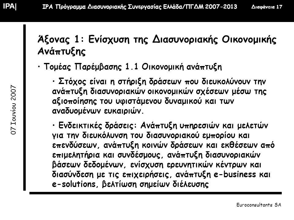 IPA| IPA Πρόγραμμα Διασυνοριακής Συνεργασίας Ελλάδα/ΠΓΔΜ 2007-2013 Διαφάνεια 17 07 Ιουνίου 2007 Euroconsultants SA Άξονας 1: Ενίσχυση της Διασυνοριακή