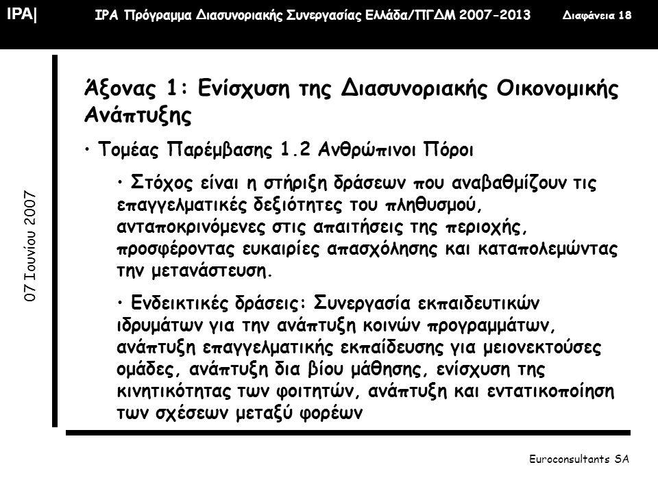 IPA| IPA Πρόγραμμα Διασυνοριακής Συνεργασίας Ελλάδα/ΠΓΔΜ 2007-2013 Διαφάνεια 18 07 Ιουνίου 2007 Euroconsultants SA Άξονας 1: Ενίσχυση της Διασυνοριακή