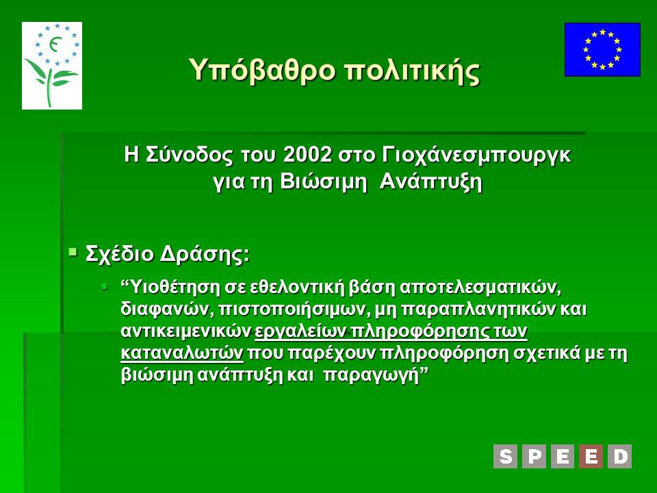 Υπόβαθρο πολιτικής Η Σύνοδος του 2002 στο Γιοχάνεσμπουργκ για τη Βιώσιμη Ανάπτυξη  Σχέδιο Δράσης:  Υιοθέτηση σε εθελοντική βάση αποτελεσματικών, διαφανών, πιστοποιήσιμων, μη παραπλανητικών και αντικειμενικών εργαλείων πληροφόρησης των καταναλωτών που παρέχουν πληροφόρηση σχετικά με τη βιώσιμη ανάπτυξη και παραγωγή
