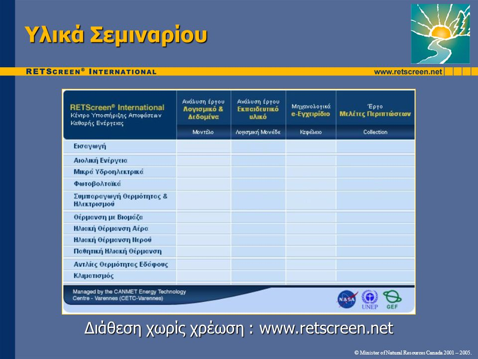 Διάθεση χωρίς χρέωση : www.retscreen.net © Minister of Natural Resources Canada 2001 – 2005.