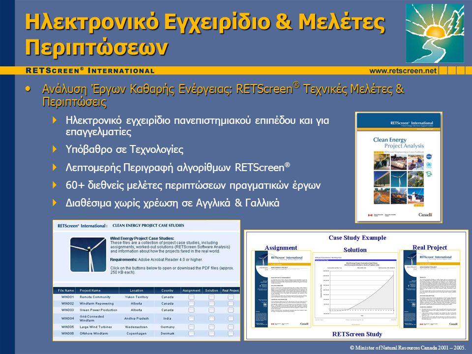 • Ανάλυση Έργων Καθαρής Ενέργειας: RETScreen ® Τεχνικές Μελέτες & Περιπτώσεις  Ηλεκτρονικό εγχειρίδιο πανεπιστημιακού επιπέδου και για επαγγελματίες  Υπόβαθρο σε Τεχνολογίες  Λεπτομερής Περιγραφή αλγορίθμων RETScreen ®  60+ διεθνείς μελέτες περιπτώσεων πραγματικών έργων  Διαθέσιμα χωρίς χρέωση σε Αγγλικά & Γαλλικά © Minister of Natural Resources Canada 2001 – 2005.