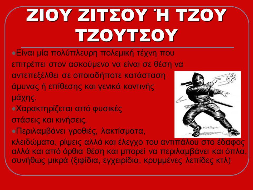 ΖΙΟΥ ΖΙΤΣΟΥ Ή ΤΖΟΥ ΤΖΟΥΤΣΟΥ  Είναι μία πολύπλευρη πολεμική τέχνη που επιτρέπει στον ασκούμενο να είναι σε θέση να αντεπεξέλθει σε οποιαδήποτε κατάσταση άμυνας ή επίθεσης και γενικά κοντινής μάχης.