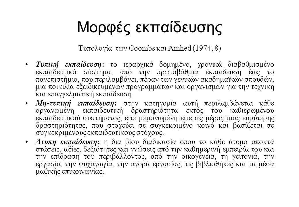 Μορφές εκπαίδευσης Τυπολογία των Coombs και Amhed (1974, 8) •Τυπική εκπαίδευση: το ιεραρχικά δομημένο, χρονικά διαβαθμισμένο εκπαιδευτικό σύστημα, από την πρωτοβάθμια εκπαίδευση έως το πανεπιστήμιο, που περιλαμβάνει, πέραν των γενικών ακαδημαϊκών σπουδών, μια ποικιλία εξειδικευμένων προγραμμάτων και οργανισμών για την τεχνική και επαγγελματική εκπαίδευση.