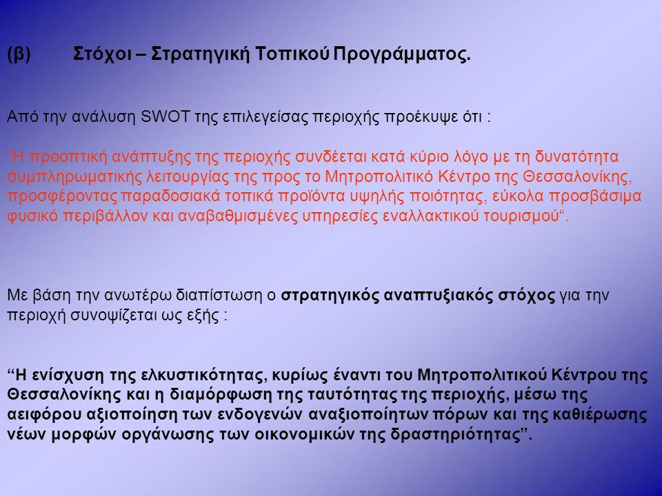 """(β)Στόχοι – Στρατηγική Τοπικού Προγράμματος. Από την ανάλυση SWOT της επιλεγείσας περιοχής προέκυψε ότι : """"Η προοπτική ανάπτυξης της περιοχής συνδέετα"""