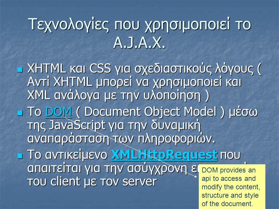Τεχνολογίες που χρησιμοποιεί το A.J.A.X.  XHTML και CSS για σχεδιαστικούς λόγους ( Αντί XHTML μπορεί να χρησιμοποιεί και XML ανάλογα με την υλοποίηση