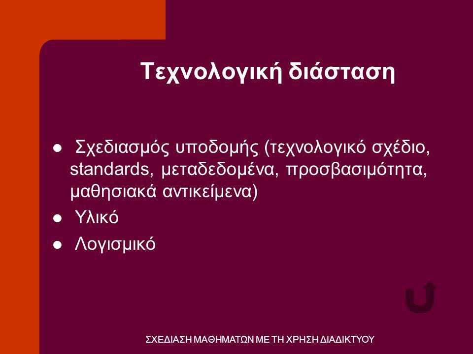 ΣΧΕΔΙΑΣΗ ΜΑΘΗΜΑΤΩΝ ΜΕ ΤΗ ΧΡΗΣΗ ΔΙΑΔΙΚΤΥΟΥ Τεχνολογική διάσταση  Σχεδιασμός υποδομής (τεχνολογικό σχέδιο, standards, μεταδεδομένα, προσβασιμότητα, μαθησιακά αντικείμενα)  Υλικό  Λογισμικό