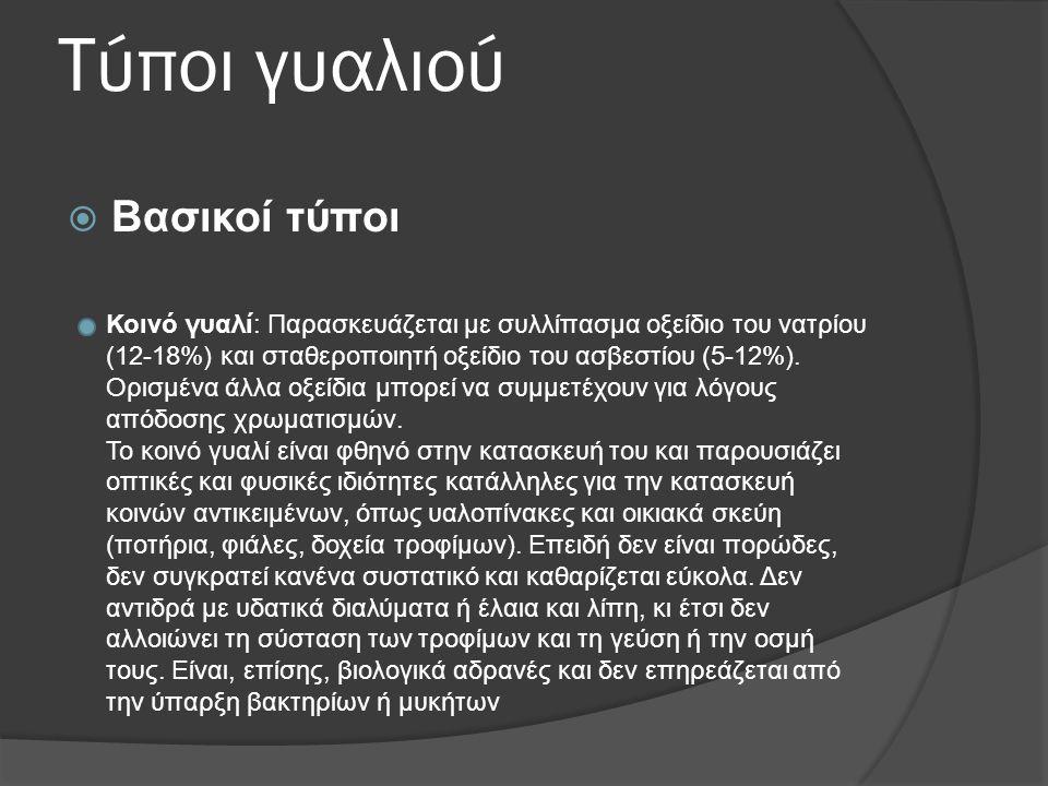 Τύποι γυαλιού  Βασικοί τύποι Κοινό γυαλί: Παρασκευάζεται με συλλίπασμα οξείδιο του νατρίου (12-18%) και σταθεροποιητή οξείδιο του ασβεστίου (5-12%).