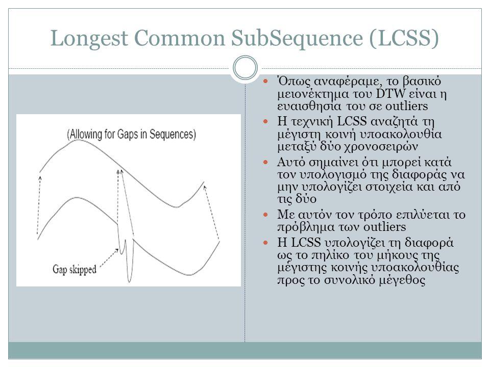 Longest Common SubSequence (LCSS)  Όπως αναφέραμε, το βασικό μειονέκτημα του DTW είναι η ευαισθησία του σε outliers  Η τεχνική LCSS αναζητά τη μέγισ