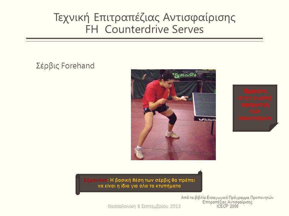 Τεχνική Επιτραπέζιας Αντισφαίρισης FH Counterdrive Serves Σέρβις Forehand Από το βιβλίο Εισαγωγικό Πρόγραμμα Προπονητών Επιτραπέζιας Αντισφαίρισης ICECP 2008 Σημαντικό: Η βασική θέση των σέρβις θα πρέπει να είναι η ίδια για όλα τα κτυπήματα Έμφαση στην σωστή εφαρμογή των κανονισμών Θεσσαλονίκη 6 Σεπτεμβρίου 2013