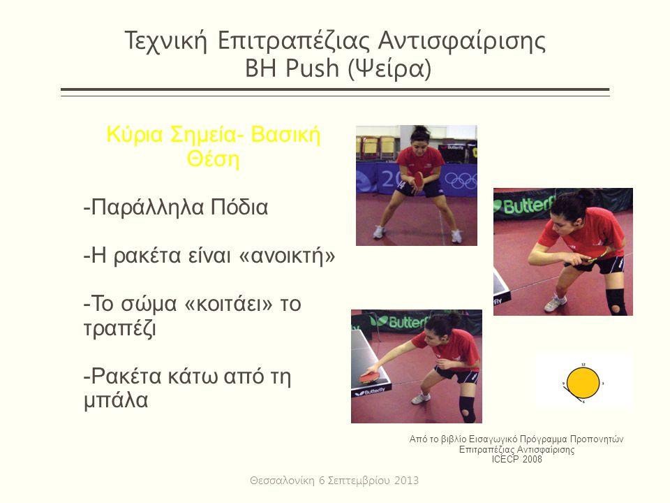 Τεχνική Επιτραπέζιας Αντισφαίρισης BH Push (Ψείρα) Κύρια Σημεία- Βασική Θέση -Παράλληλα Πόδια -Η ρακέτα είναι «ανοικτή» -Το σώμα «κοιτάει» το τραπέζι -Ρακέτα κάτω από τη μπάλα Από το βιβλίο Εισαγωγικό Πρόγραμμα Προπονητών Επιτραπέζιας Αντισφαίρισης ICECP 2008 Θεσσαλονίκη 6 Σεπτεμβρίου 2013