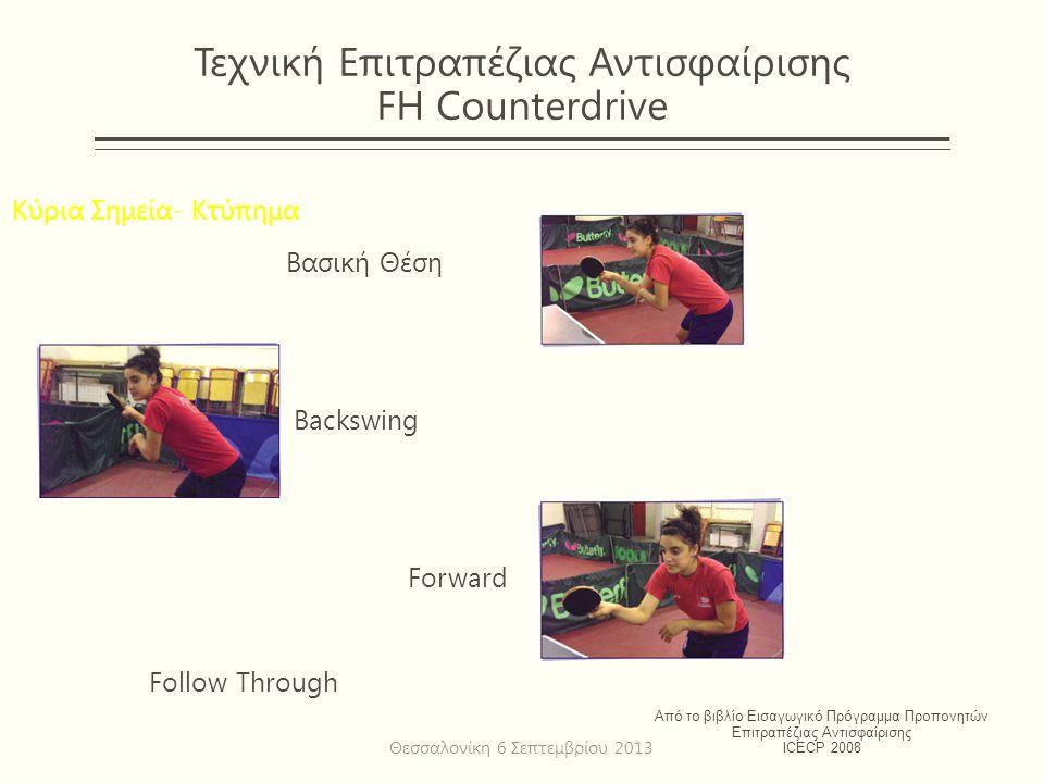 Τεχνική Επιτραπέζιας Αντισφαίρισης FH Counterdrive Κύρια Σημεία- Κτύπημα Βασική Θέση Backswing Forward Follow Through Από το βιβλίο Εισαγωγικό Πρόγραμμα Προπονητών Επιτραπέζιας Αντισφαίρισης ICECP 2008 Θεσσαλονίκη 6 Σεπτεμβρίου 2013