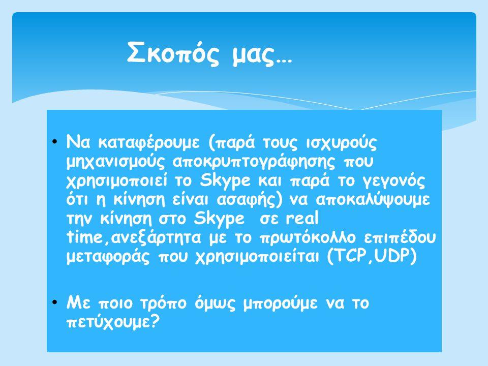 • Nα καταφέρουμε (παρά τους ισχυρούς μηχανισμούς αποκρυπτογράφησης που χρησιμοποιεί το Skype και παρά το γεγονός ότι η κίνηση είναι ασαφής) να αποκαλύ