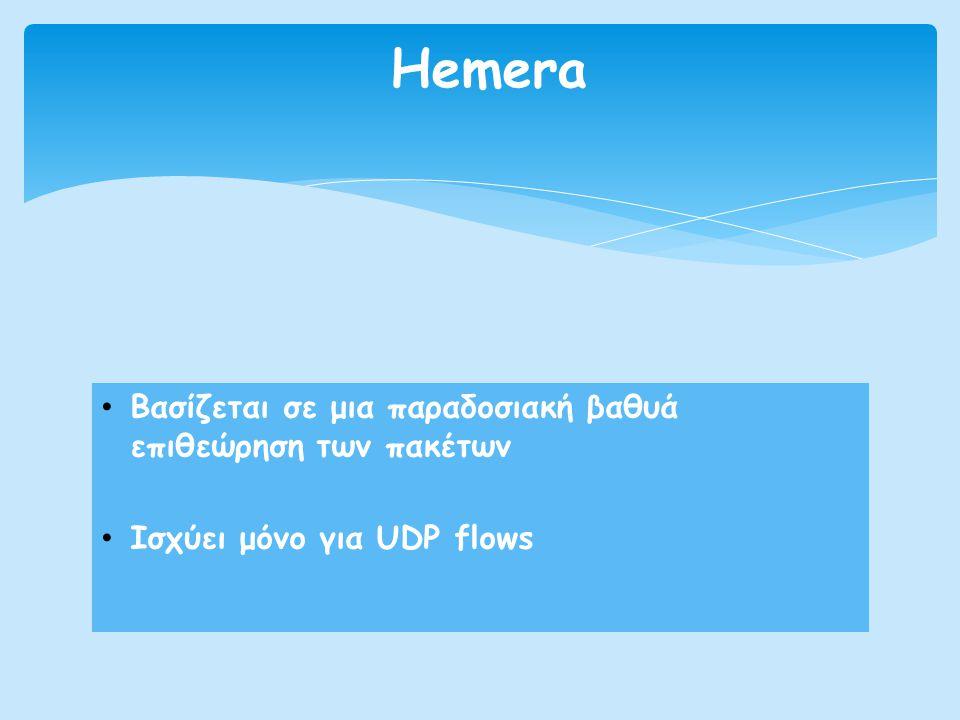 • Βασίζεται σε μια παραδοσιακή βαθυά επιθεώρηση των πακέτων • Ισχύει μόνο για UDP flows Hemera