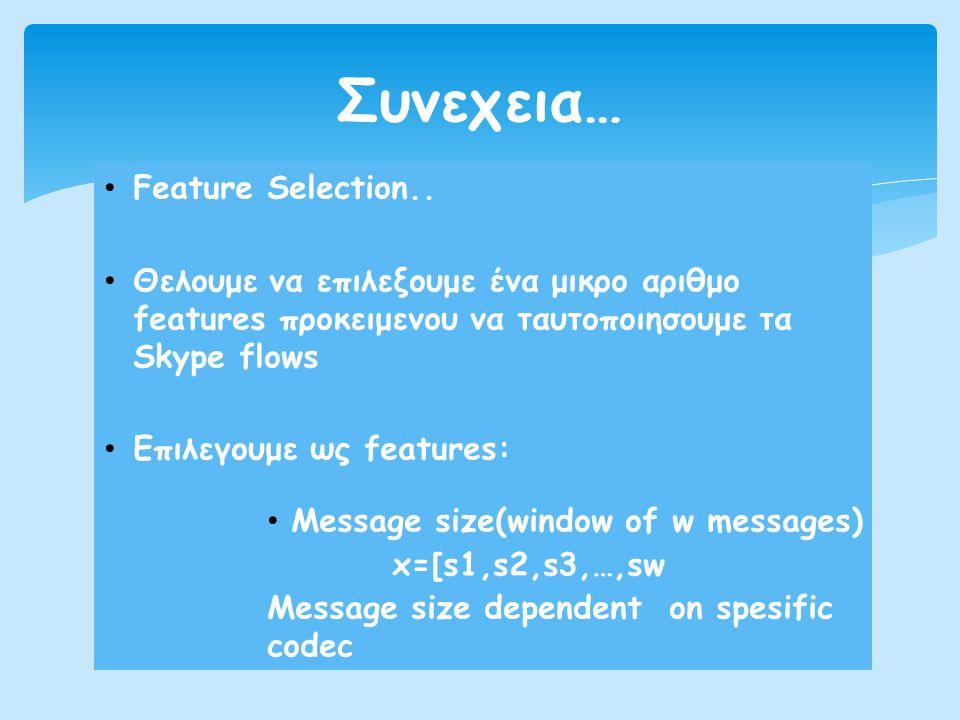 • Feature Selection.. • Θελουμε να επιλεξουμε ένα μικρο αριθμο features προκειμενου να ταυτοπoιησουμε τα Skype flows • Επιλεγουμε ως features: • Messa